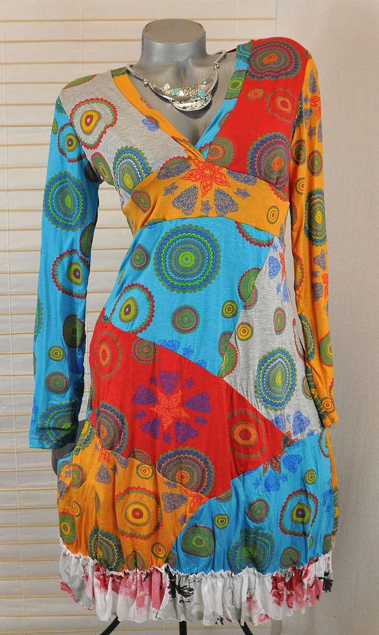 neu hippie boho patchwork kleid tunika ausgefallen bunt 38. Black Bedroom Furniture Sets. Home Design Ideas